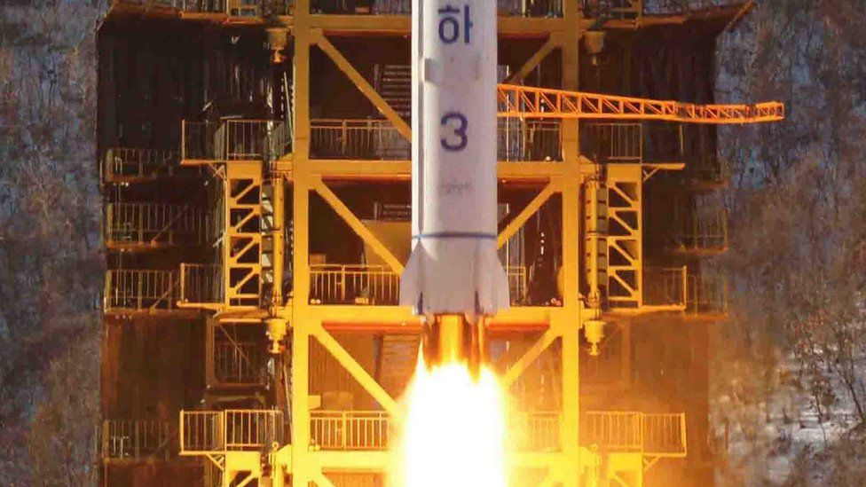 """This photo released by North Korea""""s state media in December 2012 shows a satellite being launched from Sohae, North Korea"""