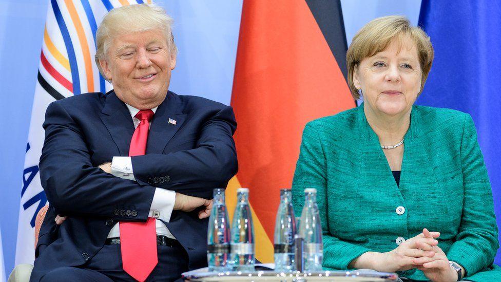 Donald Trump and Angela Merkel at a summit in Hamburg in July 2017