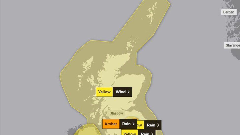 Met Office map of weather warnings