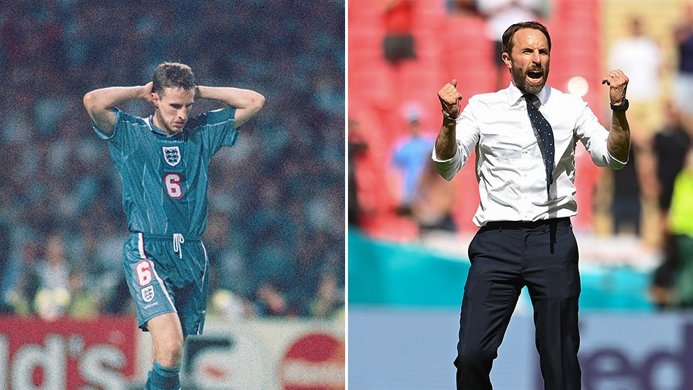 Split screen of Southgate after his penalty miss in 1996 and in the England v Croatia game in 2021.