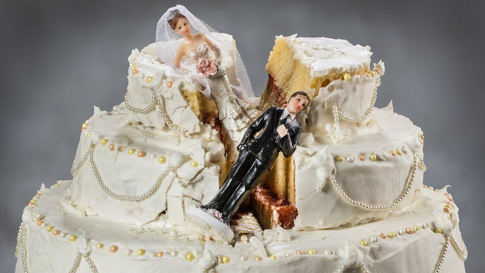 A smashed up wedding cake