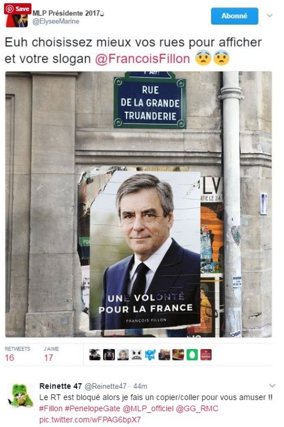 A defaced campaign poster - originally said 'Une volonte pour la France' but it's been defaced and reads 'Un vol pour la France' - ie from 'desire' to 'theft'