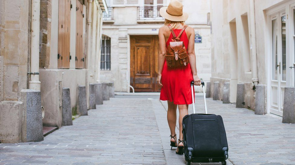 Female tourist abroad