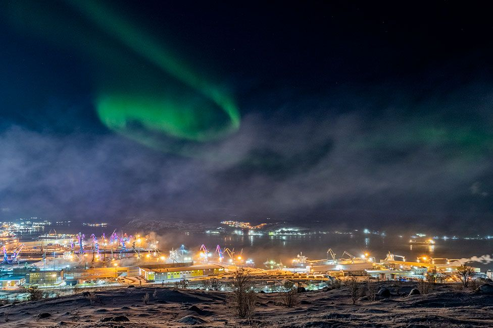 An image of Aurora Borealis in Murmansk, Russia