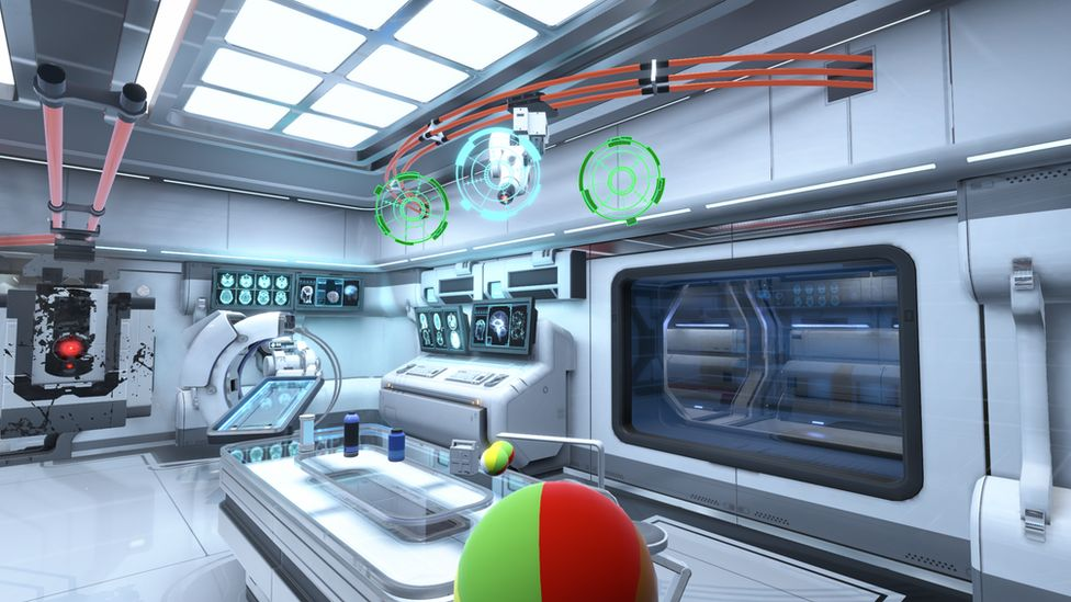 Screengrab from Neurable game showing futuristic interior