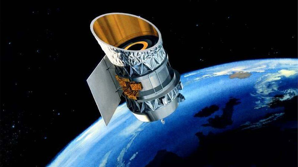 NASA drawing of IRAS satellite
