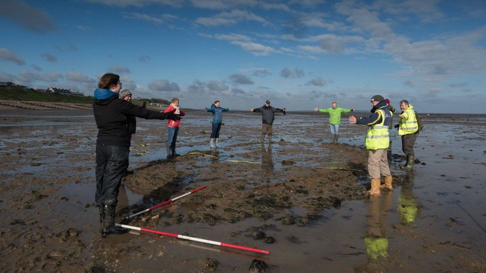 Volunteers show the outline of the Tankerton wreck