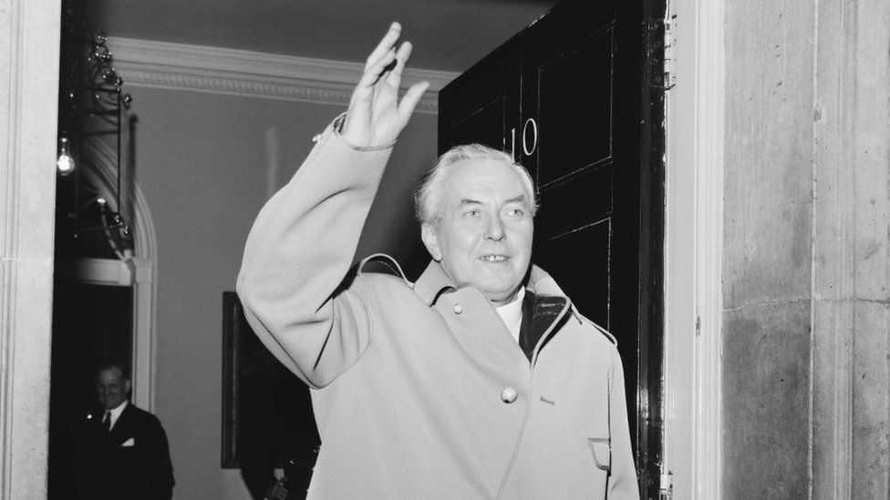 Labour's Harold Wilson, then-prime minister, at 10 Downing Street in 1964