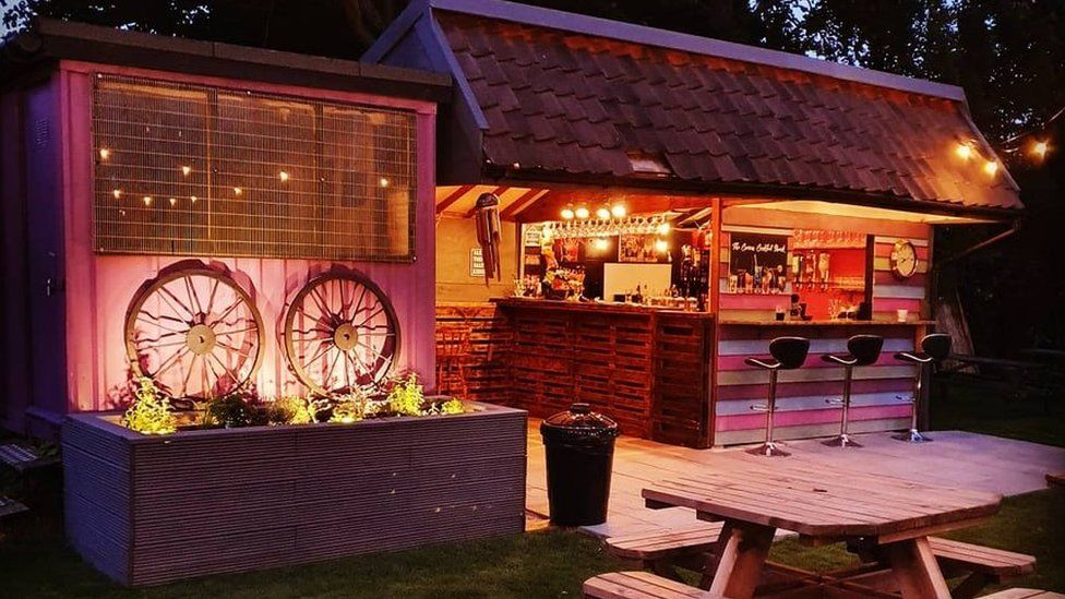 An old shed was turned into a cocktail shack