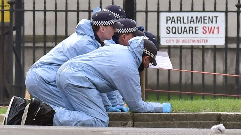 Police officers searching for evidence
