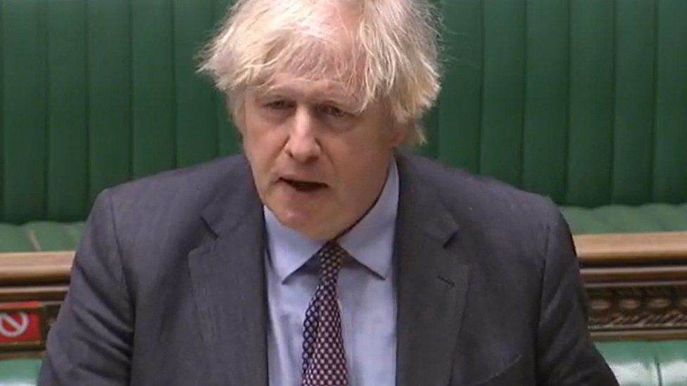 PM Boris Johnson speaking in the House of Commons