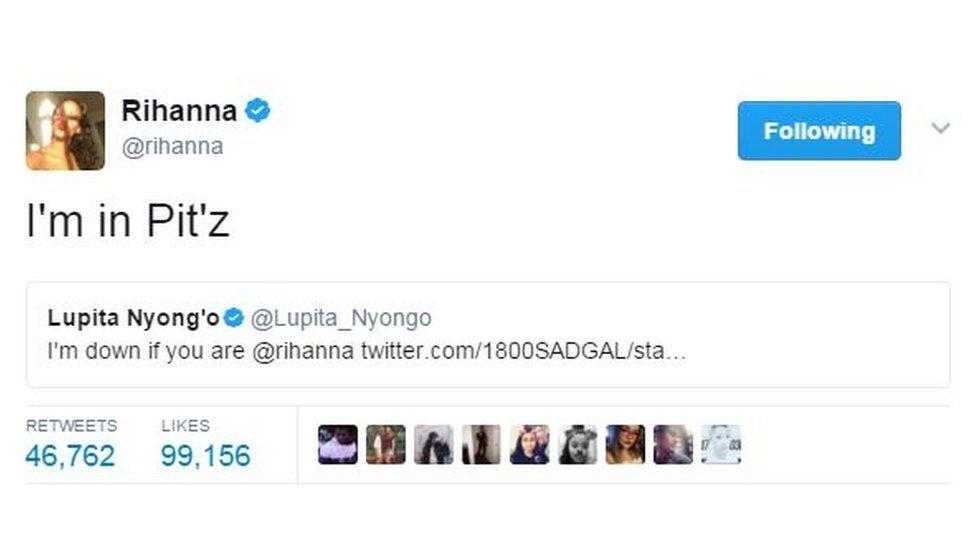 'I'm in Pitz' Rihanna tweeted