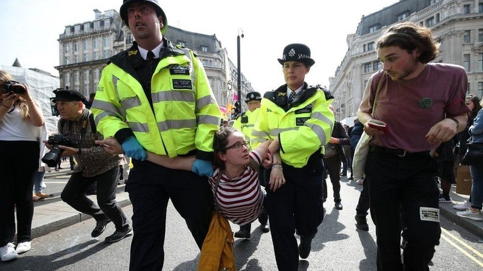 Protester arrested at Oxford Circus