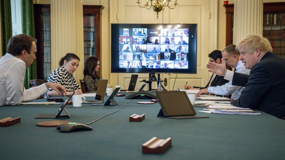 Prime Minister Boris Johnson holds the Digital Cabinet Meeting in 10 Downing Street