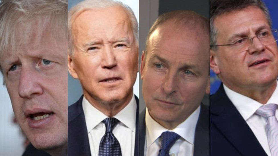 Boris Johnson, Joe Biden, Micheál Martin, Maros Sefcovic
