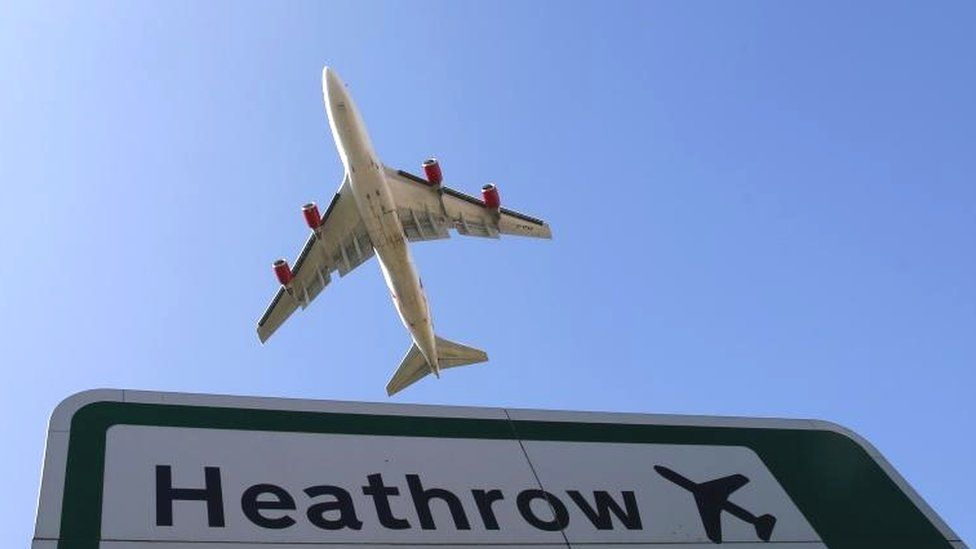 Plane flying over Heathrow sign