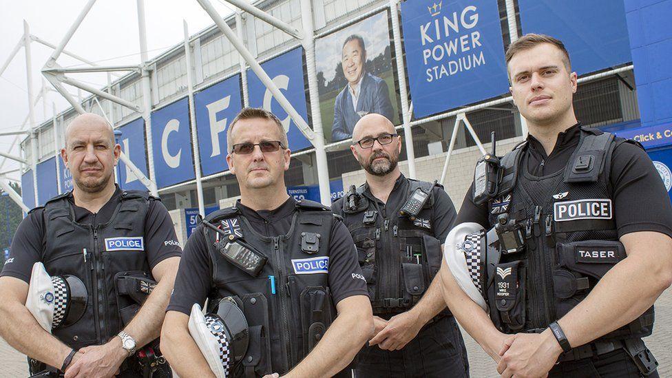 L to R: PC Kevin Marsh, PC Michael Hinton, PC Steve Quartermain, Sgt Mike Hooper