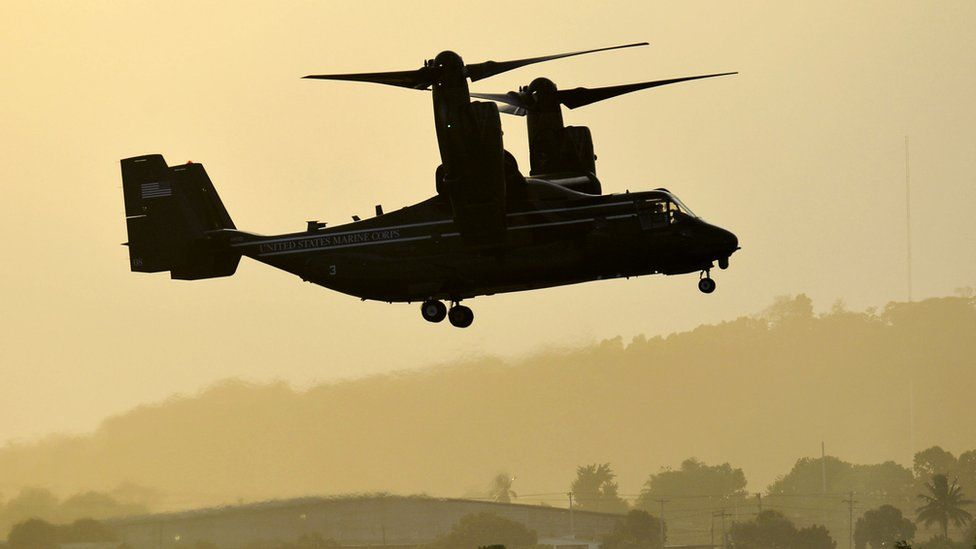 View of a US Bell Boeing V-22 Osprey aircraft ready to land in Tocumen International Airport, in Panama City, on April 9, 2015,