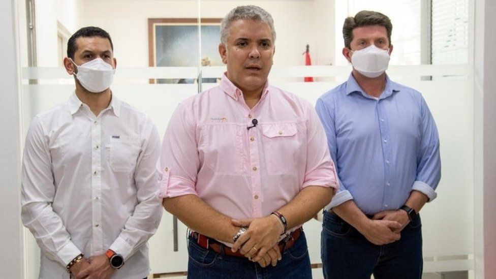 The Colombian president speaks after his helicopter is shot