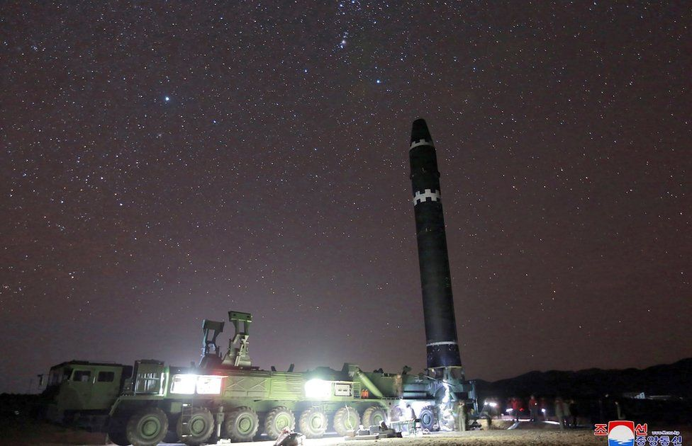This photo taken on 29 November 2017 and released on 30 November 2017 by North Korea's official Korean Central News Agency (KCNA) shows the Hwansong-15 missile which is capable of reaching all parts of the US.
