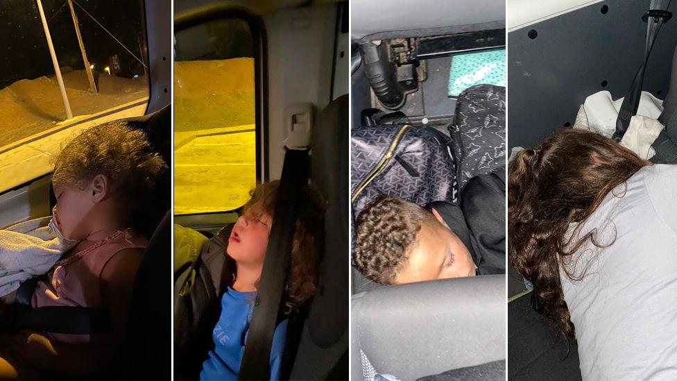 Children sleeping in a van