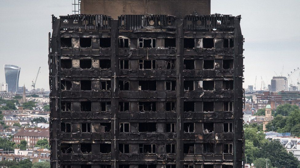 What remains of the top floors of Grenfell Tower