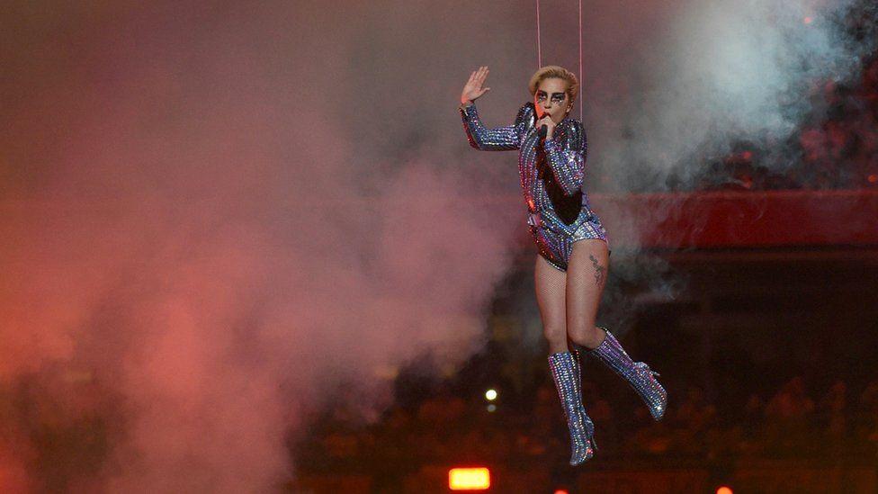Lady Gaga performing at the Superbowl