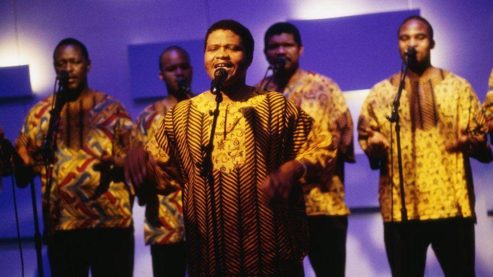 Joseph Shabalala with members of Ladysmith Black Mambazo in 1998