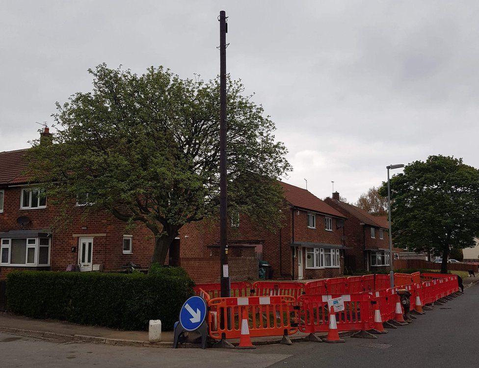 Newly erected fibre broadband pole
