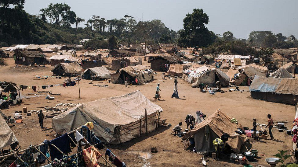 January 21, 2021, shows dozens of makeshift shelters set-up by Central African refugees who fled Bangassou to Ndu, Bas-Uele Province, Democratic Republic of Congo