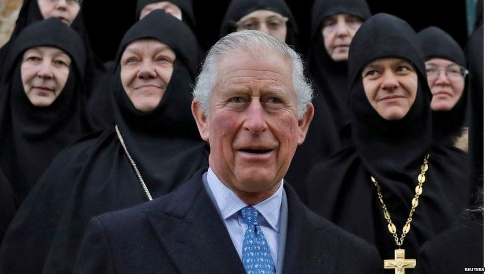 Prince Charles with nuns during a visit in Russian Orthodox Church of Mary Magdalene on the Mount of Olives in Jerusalem