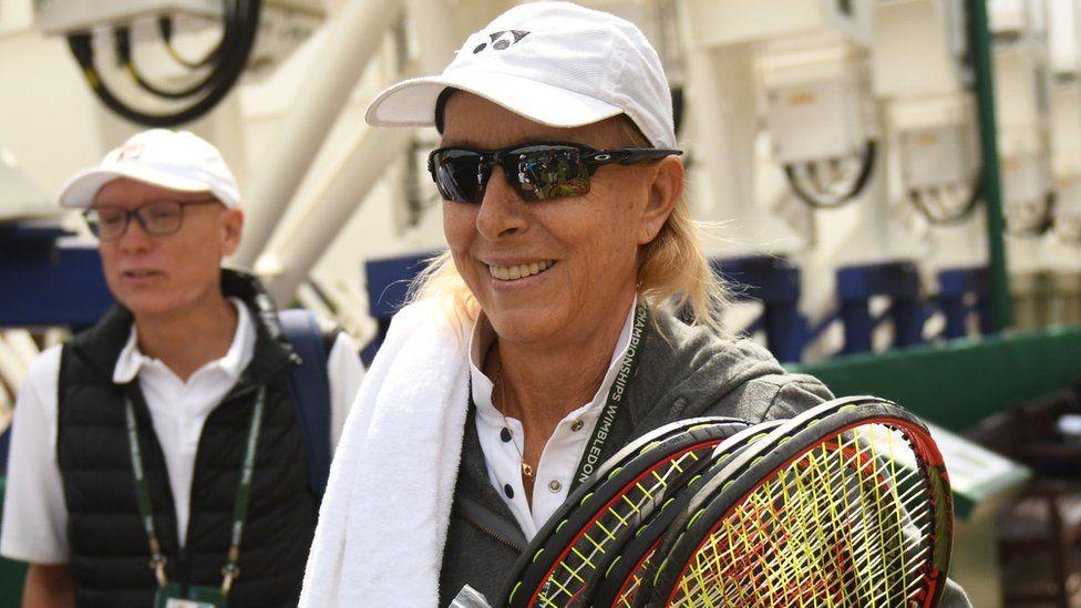 Martina Navratilova on the eighth day of the 2018 Wimbledon Championships on July 10, 2018