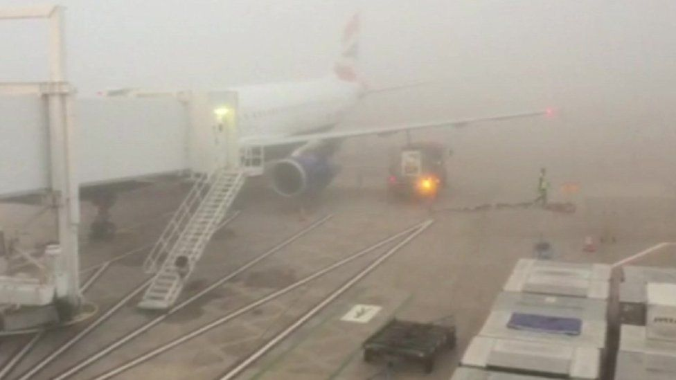 Fog at Manchester airport