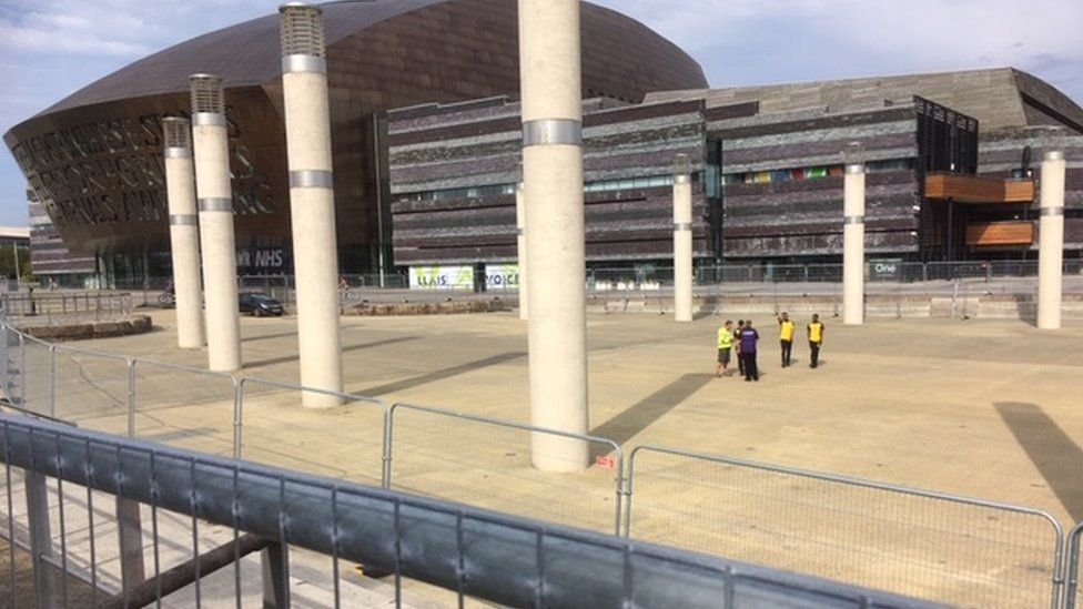 Security staff at Cardiff Bay