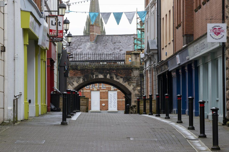 A deserted shopping street in Londonderry