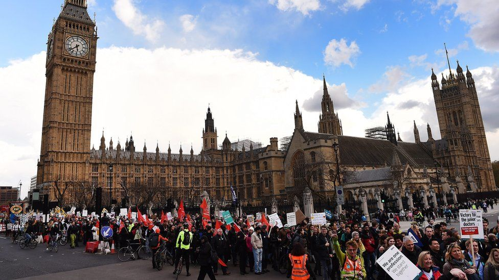 Junior doctors marching past Parliament