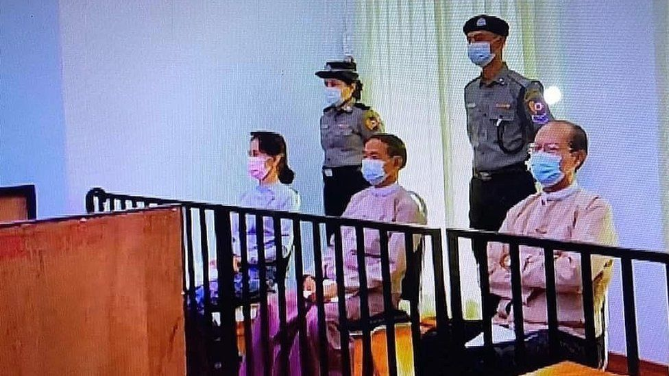 Myanmar: Aung San Suu Kyi appears in court for first time since military coup - BBC News