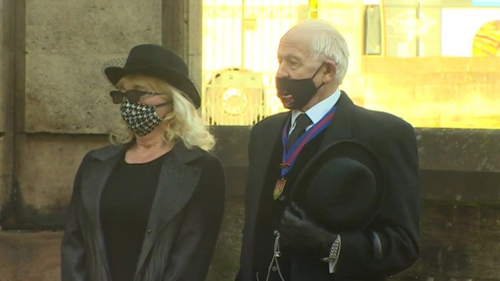 Mourners at Brian Binley's funeral