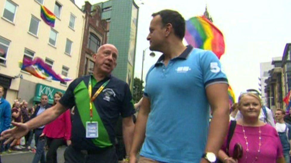 Lord Hayward (left) accompanied the taoiseach (Irish PM) at Belfast's 2019 Pride parade