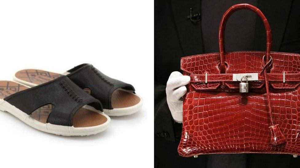 Composite image of Bata sandals and Birkin handbag