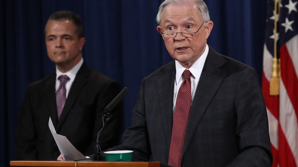 U.S. Attorney General Jeff Sessions (R) answers questions during a press conference at the Department of Justice on March 2, 2017 in Washington, DC. Sessions addressed the calls for him to recuse himself from Russia investigations after reports surfaced of meetings he had with the Russian ambassador during the U.S. presidential campaign. Also pictured is Sessions' Chief of Staff Jody Hunt (L)
