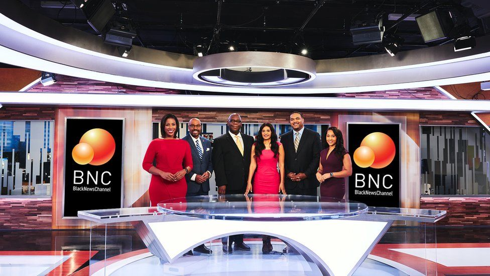 Black News Channel weekday presenters in their Tallahassee studio