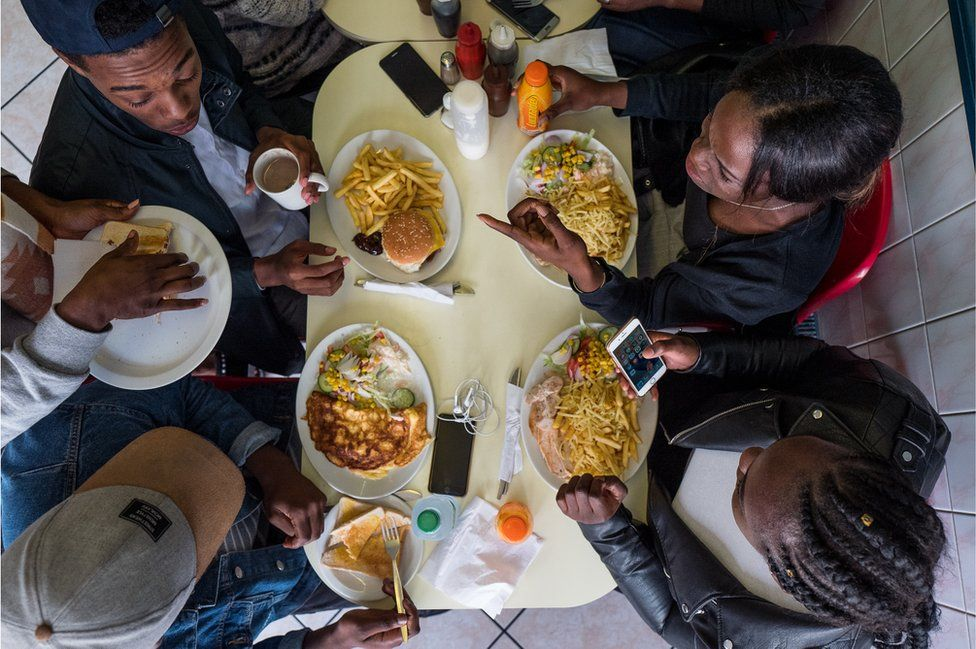 People eating, seen from above