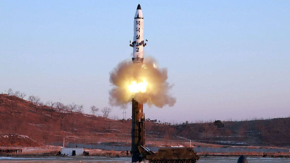 Launch of a surface-to-surface medium long-range ballistic missile Pukguksong-2 at an undisclosed location in North Korea. 12 Feb 2017