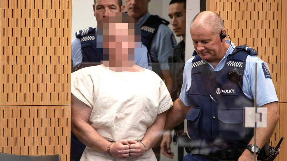 Brenton Tarrant in Christchurch court. file photo 16 March 2019