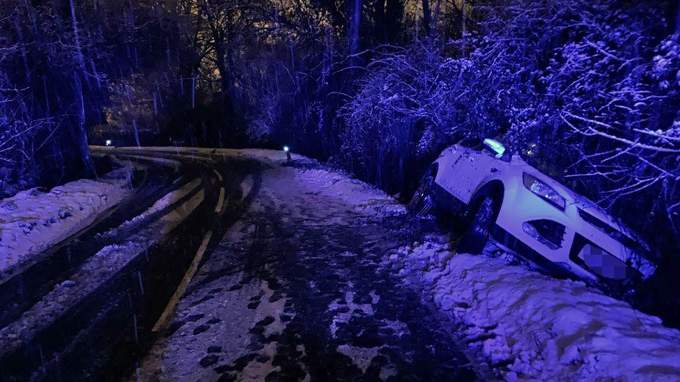 Car in ditch in Bracknell