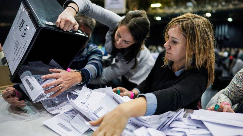 Ballot boxes being emptied in Glasgow