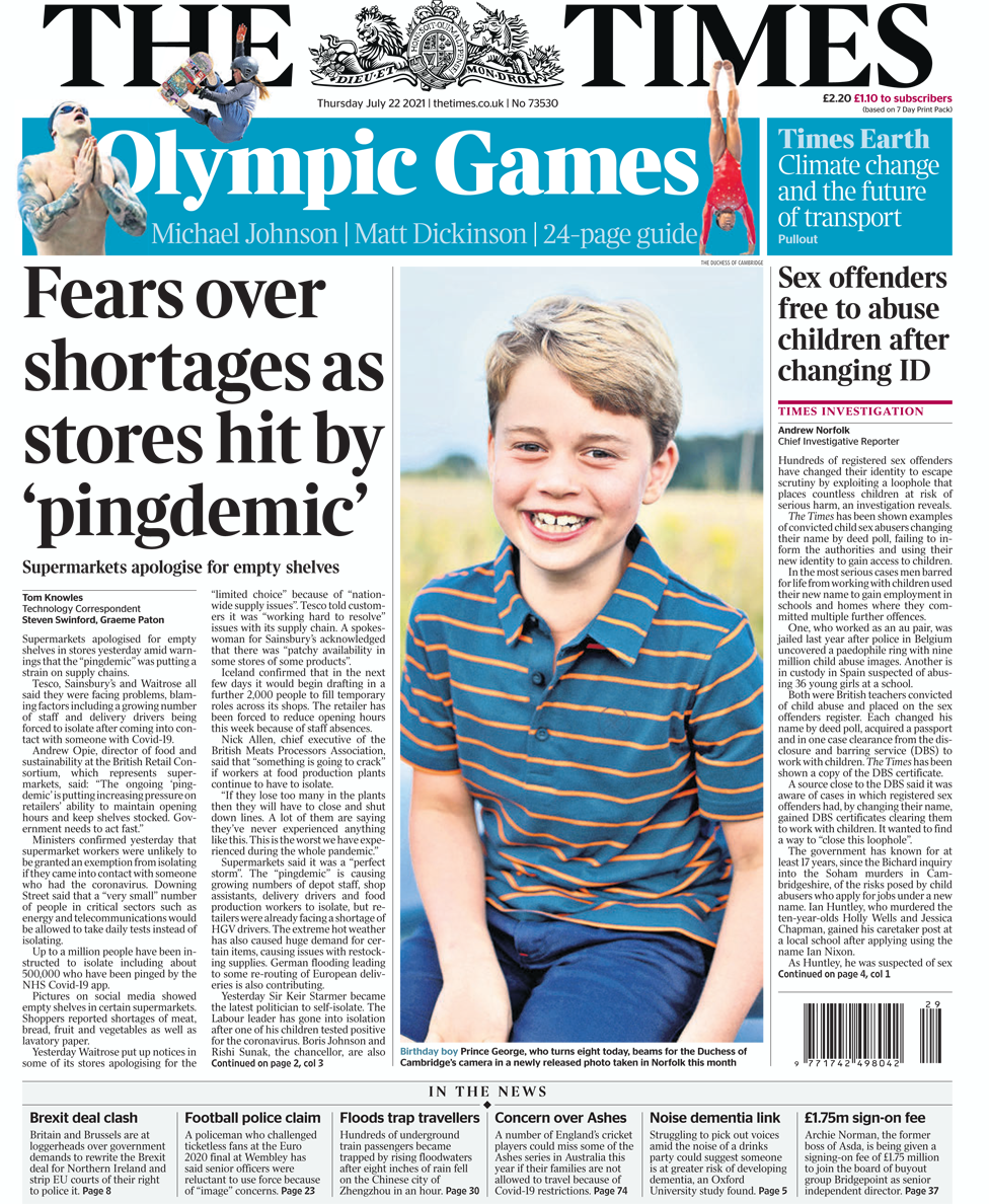 The Times front page 22/07/21