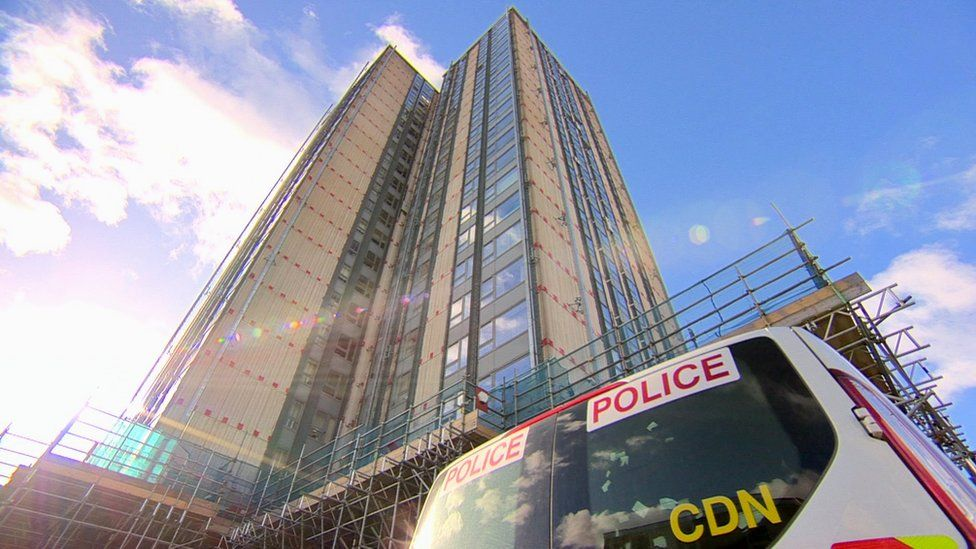 Police at Bray Tower