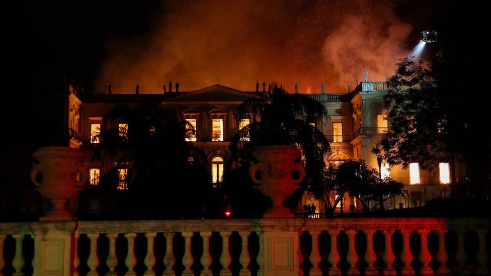 A general view of the National Museum of Rio de Janeiro, one of the oldest in Brazil, as it is consumed by flames due to a major fire, in Rio de Janeiro, Brazil, 2 September 2018.
